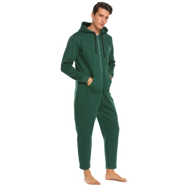 Ekouaer Men Sleepwear One Piece Pajamas Set Long Sleeve Hooded  Zip Front Fleece Lined Pajama Set Adult  Onesies Home Sleepwear