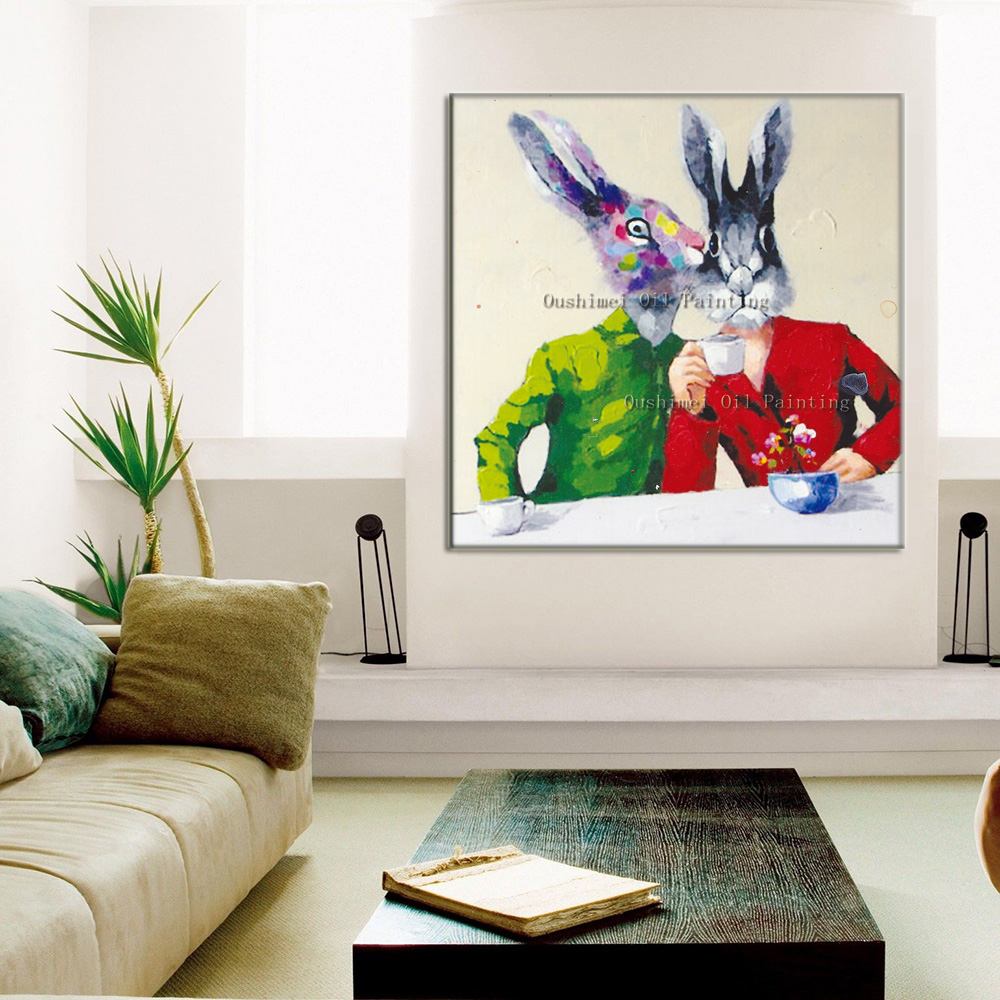 New hand painted modern mural lover picture canvas wall art rabbit new hand painted modern mural lover picture canvas wall art rabbit painting hang paintings for room animals oil painting in painting calligraphy from home amipublicfo Choice Image
