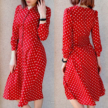 Flectit Vintage 80s Dress French Style Polka Dot Button Up Midi Dress Long Sleeve High Waisted Retro Holiday Dress Women retro buttoned high waisted belted flare dress