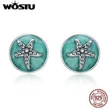 1df417af814f WOSTU Venta caliente 925 de plata esterlina fantasía estrella de mar  redondo pequeño Stud pendientes para las mujeres de Diseño .