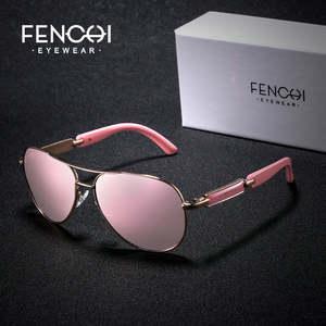 Mirror Sunglasses Oculos Driving Pilot Pink Vintage Women Ladies De Sol Polarized FENCHI