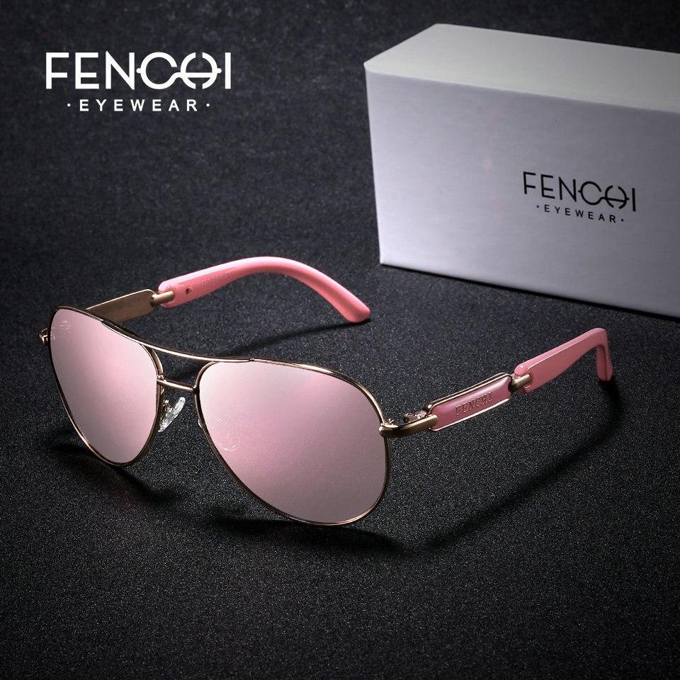 FENCHI polarizado gafas de sol de las mujeres Vintage marca gafas de piloto gafas espejo color rosa hombres señoras oculos de sol feminino