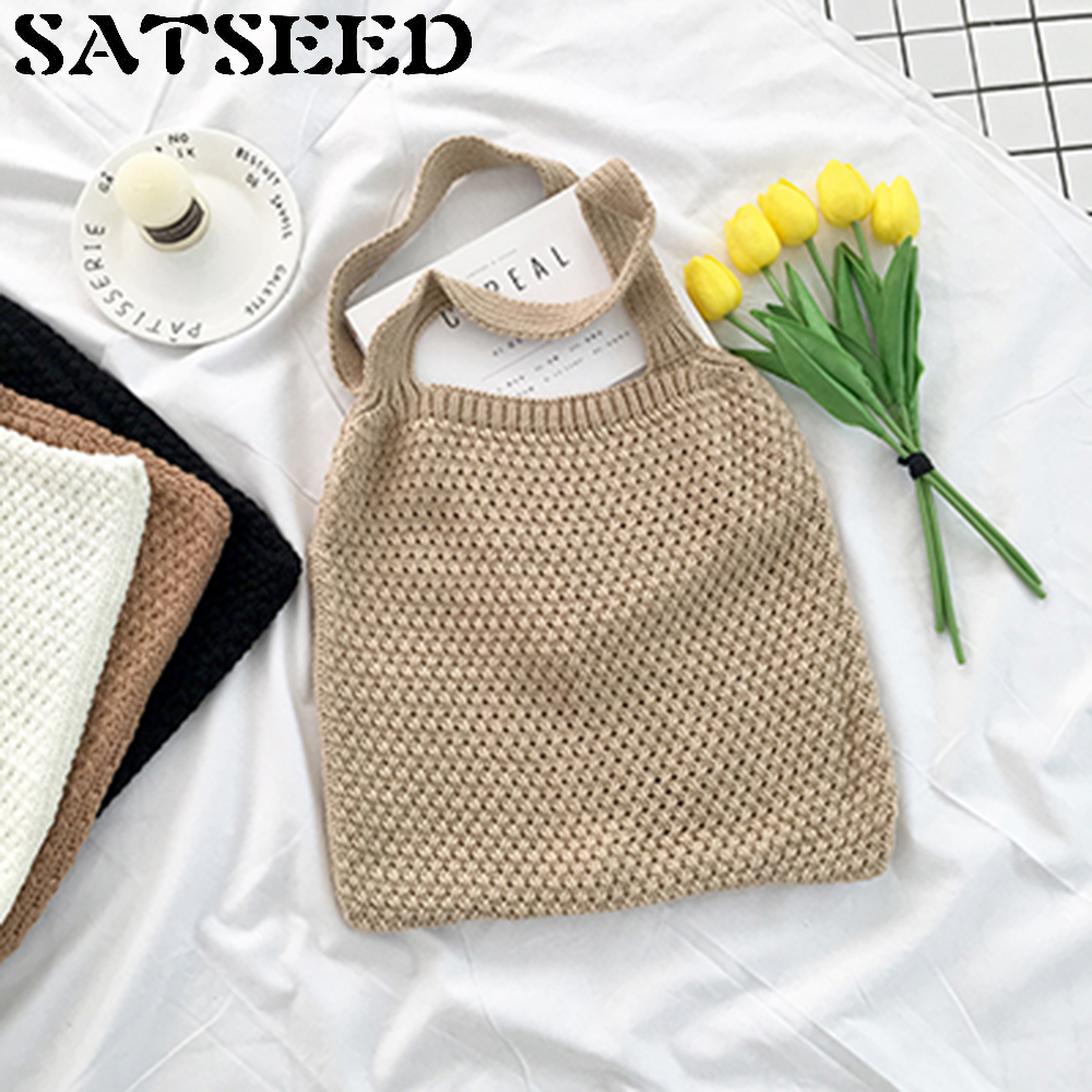 Han Handmade Women Handbag Shoulder Bag Wool Knitting Ladies New Simple Color Large Capacity Pondering Fashion Shopping Bags simply classic fashion leather women handbag shoulder bags ladies large capacity ladies shopping bag bolsa