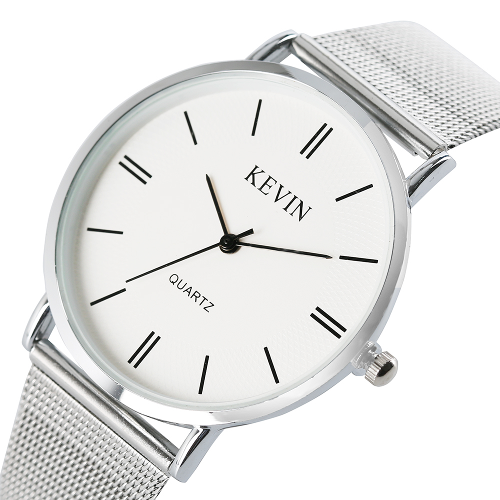 KEVIN Watches Fashion Stainless Steel Mesh Band Quartz Watch Crystal Dial Women Watch Ladies Casual Sports Watch Female Gifts