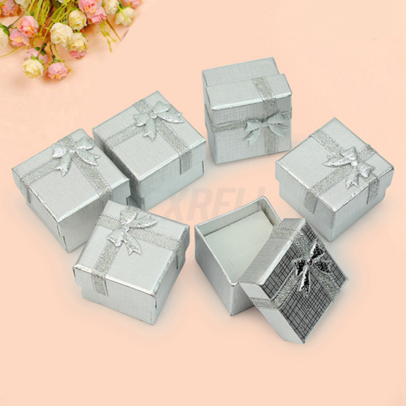 4x4x3cm ring box silver earring gift boxes square mini