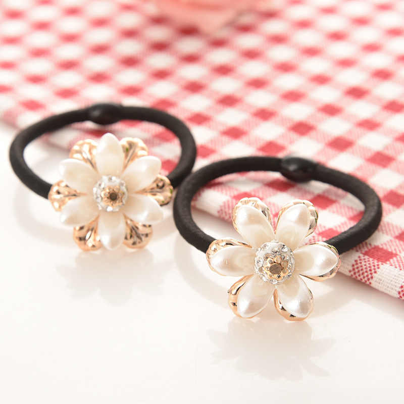 Women Hair Accessories flowers Beads Headbands Ponytail Holder Girls Scrunchies Vintage Elastic Hair Bands Rubber Rope Headdress