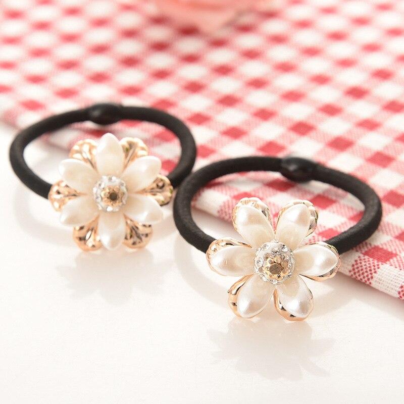 Women Hair Accessories Flowers Beads Headbands Ponytail Holder Girls Scrunchies Vintage Elastic Hair Bands Rubber Rope Headdress