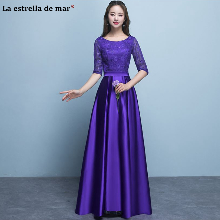 Vestido madrinha 2018 new lace satin Half sleeve a Line burgundy purple gold silver pink turquoise pink   bridesmaid     dresses   long