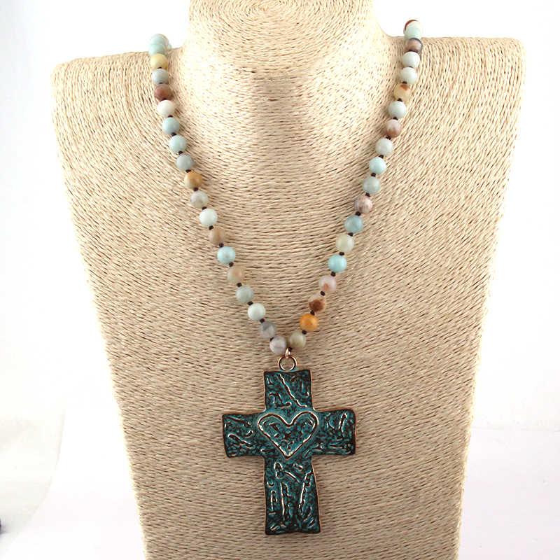 Бесплатная доставка богемные ювелирные изделия Длинные узлы камни амазонита крест ожерелье для женщин