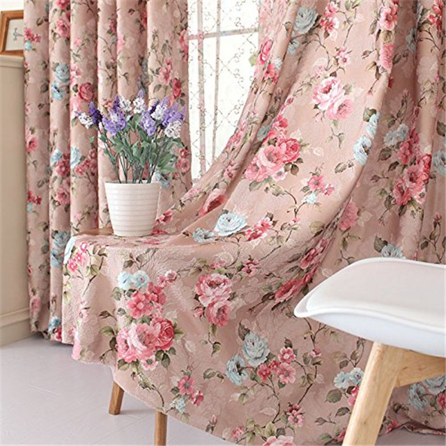Romantic Vintage Floral Window Curtain Set,Fancy European Royal Flowers Bedroom  Curtains,Modern Curtain