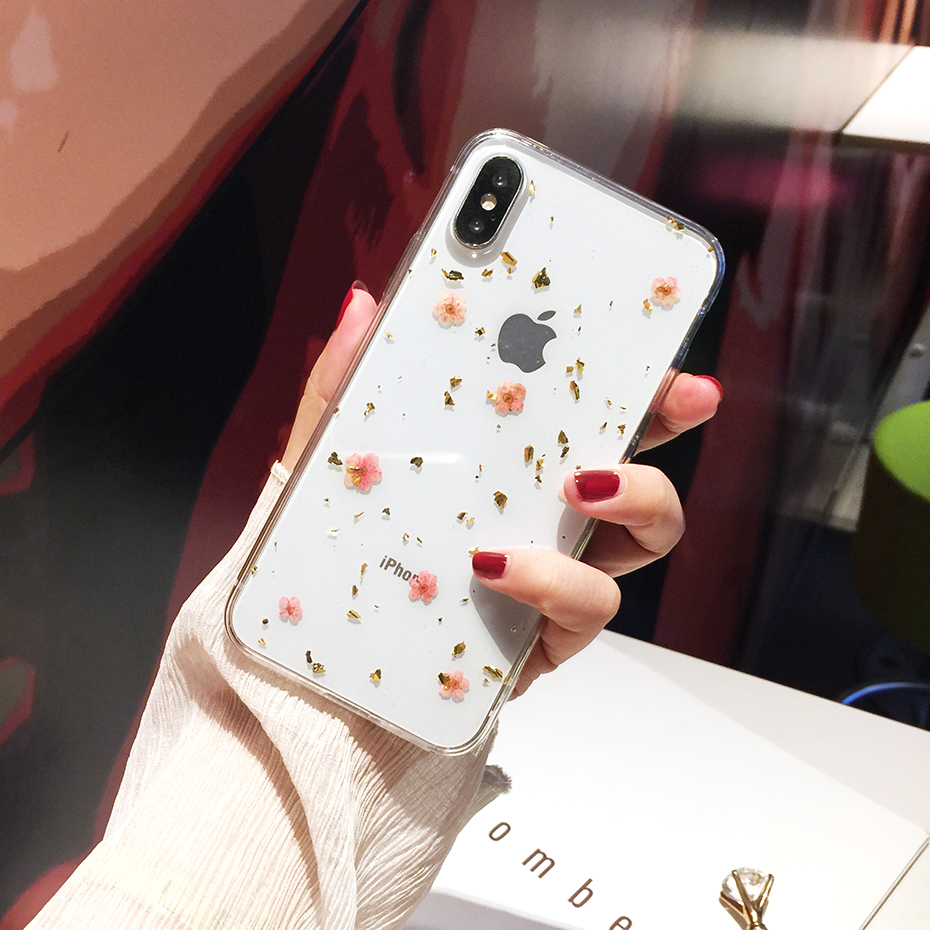 Qianliyao Real Flowers Dried Flowers Phone Case For iPhone 11 Pro Max X 6 6S 7 8 plus XR XS Max Cases Luxury Soft TPU Cover