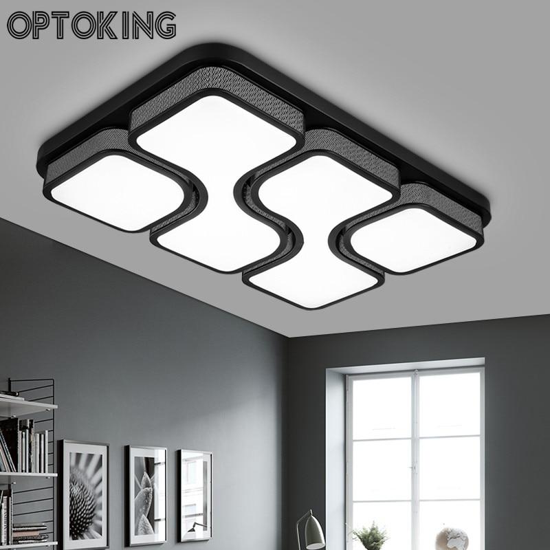 Modern Brief living room led ceiling lamps Rectangle LED Ceiling Lighting black white bedroom lamp
