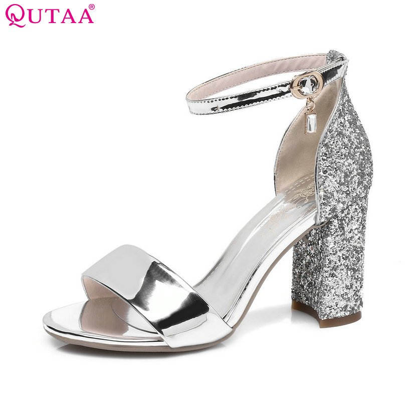 QUTAA 2017 Women Sandals Square High Heel Crystal Platform Women Shoes Ankle Strap Elegant Black Ladies Wedding Shoes Size 34-43 black brown criss criss platform square high heel ankle strap women sandals 2015 handmade zapatos mujer made to order href