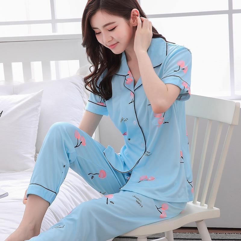 Women Lovely Wear Leisure Clothes Personality 2019 Summer Autumn Short Sleeved Women   Pajamas     Sets   Long Pant Girls Pyjamas   Sets