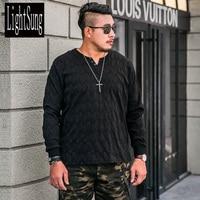 2018 New Arrive Spring Autumn Long Sleeve Black Soft Men T Shirt Plus Size Plus Size