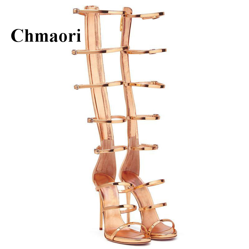 Summer Long Tube Rome Style Buckle Strap Gold Patent Leather Sexy Thin High Heel Handmade Shoes Open Toe Fashion Women Sandals