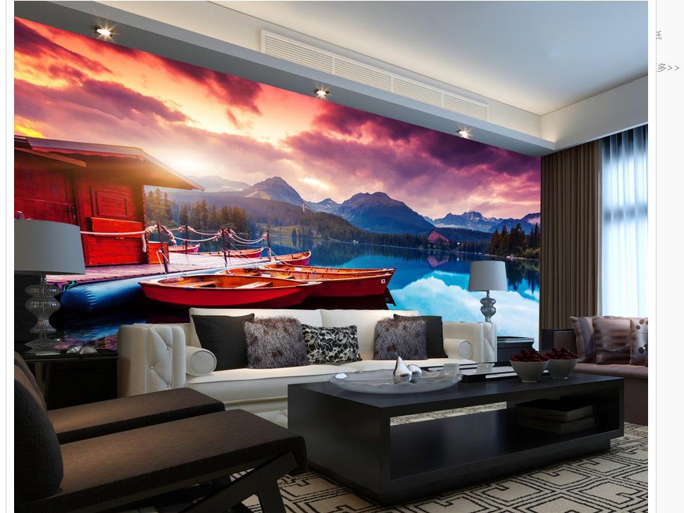 3d фрески обои для гостиной озеро горы Ферри Pier пейзаж обои для стен 3d украшения дома