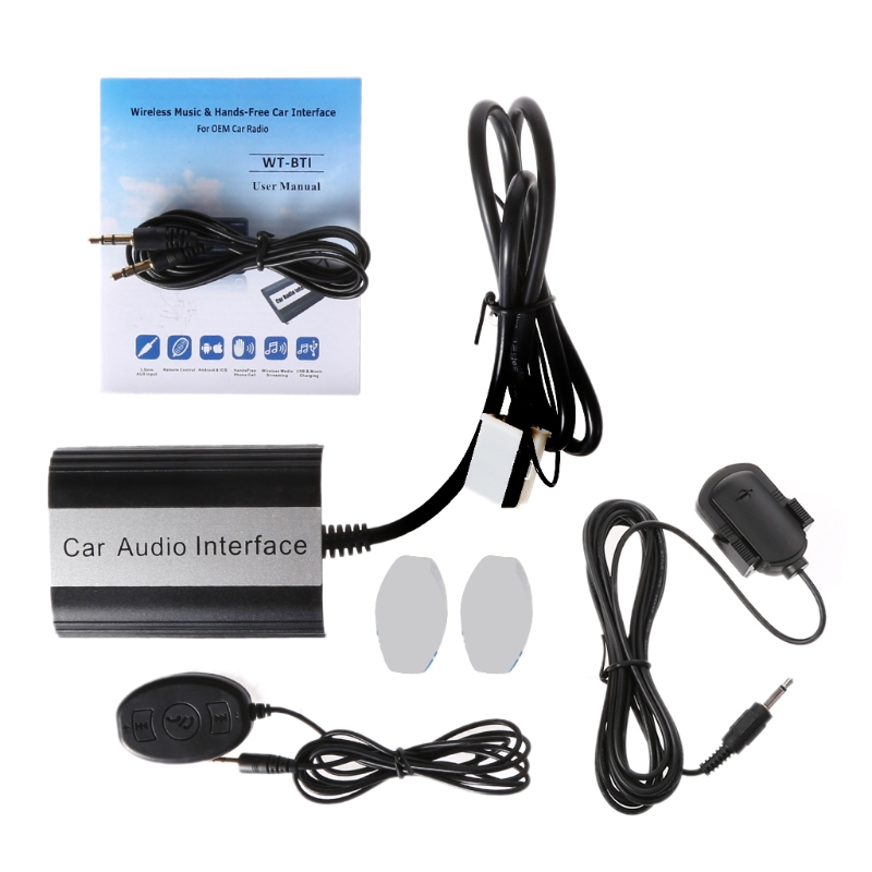 OOTDTY 1 kit mains libres voiture Bluetooth Kits MP3 AUX Interface adaptateur pour Audi Skoda 12 PINping Support