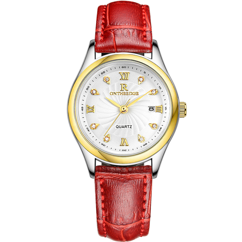 Ontheedge Genuine Leather Strap Lady Watch with Crystal Dial Gold Bezel Date Quartz Hot Montre Femme