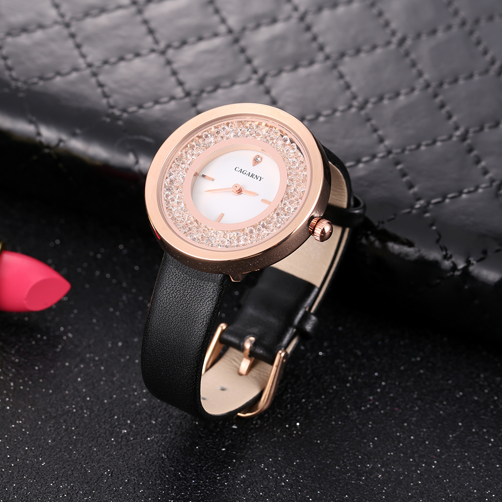 luxury brand quartz watch for women fashion ladies wristwatches rose gold case vogue leather strap with crystal free shipping (15)