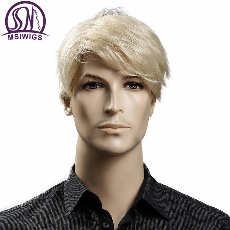 MSIWIGS Short Blonde Male Synthetic Wigs American European 6 Inch Straight Men Wig With Free Hair Cap Heat Resistant Toupee Hair