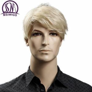 MSIWIGS короткие светлые мужские синтетические парики американская Европа 6 дюймов прямые мужские парики с бесплатной крышкой термостойкие