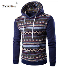 2017 new style men hoodies fashion Hoodies & sweatshirts casual Ethnic style pattern print hombre fitness hoody coat jacket