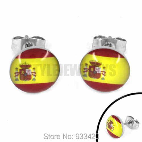المينا اسبانيا العلم أقراط 2014 كأس العالم البرازيل مجوهرات من صلب لا يصدأ موتور أقراط مرصعة SJE370091B