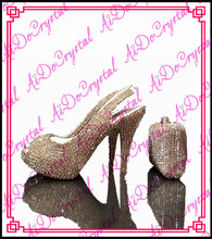 Aidocrystal designer glitter beaded slingback high heel party wedding pumps shoes and bag set