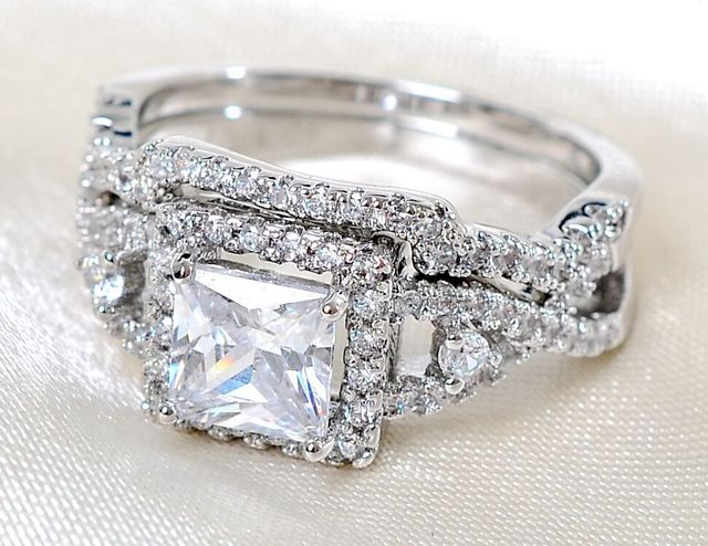 Size5 11 Luxury Lady Engagement Ring set square cut white AAA Cubic
