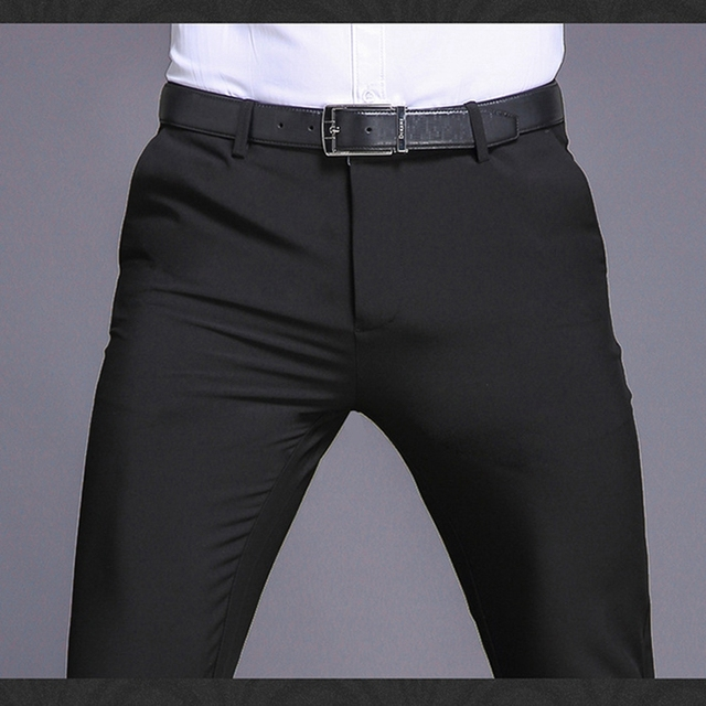 High Quality Fashion Men slim fit business Suit pants Male Smart Casual pants men Solid Colors suit pants Summer trousers