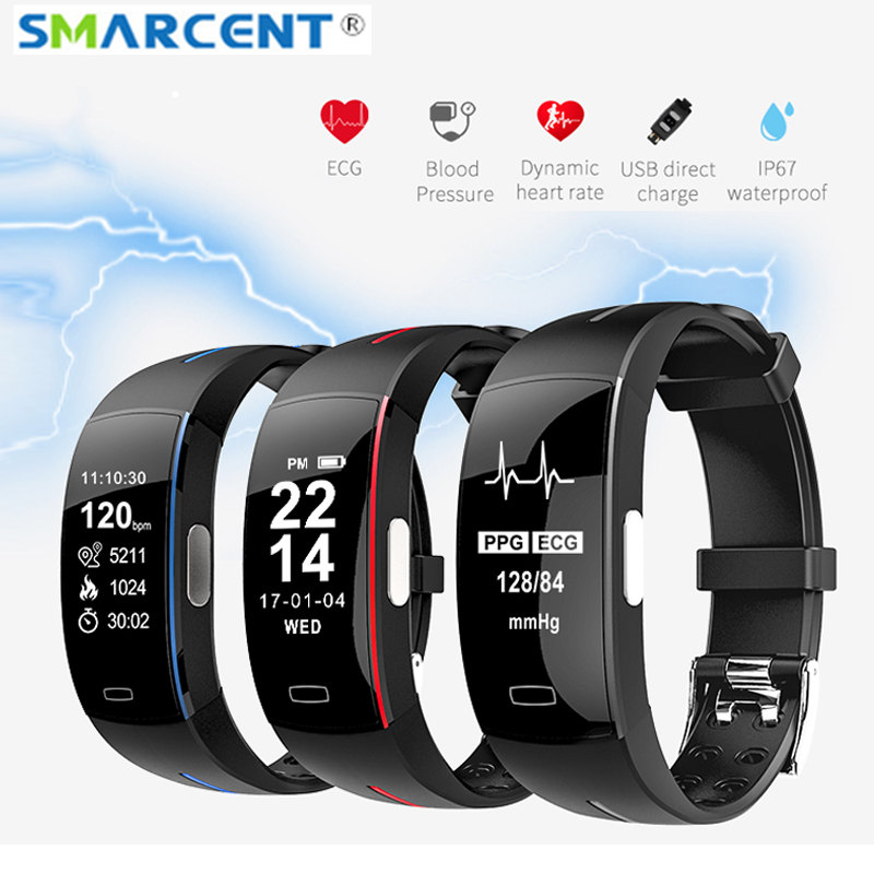 P3 ECG+PPG Smart Band Support Blood Pressure Heart Rate Monitor Wristband IP67 Waterpoof Pedometer Sports Fitness Smart Bracelet