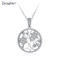 Beagloer 2017 New Fashion 100 Real 925 Sterling Silver Family Tree Pendant Necklaces For Women Wedding