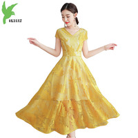 Lace dresses womens 2018 summer Short sleeve embroidery Princess dress Plus size Young girl elegant tops Long dresses OKXGNZ1843