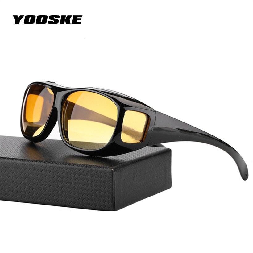YOOSKE HD Nachtsicht Fahren Sonnenbrille Männer Gelb Objektiv Über Um Brille Dunkel Fahren UV400 Schutzbrille Anti Glare