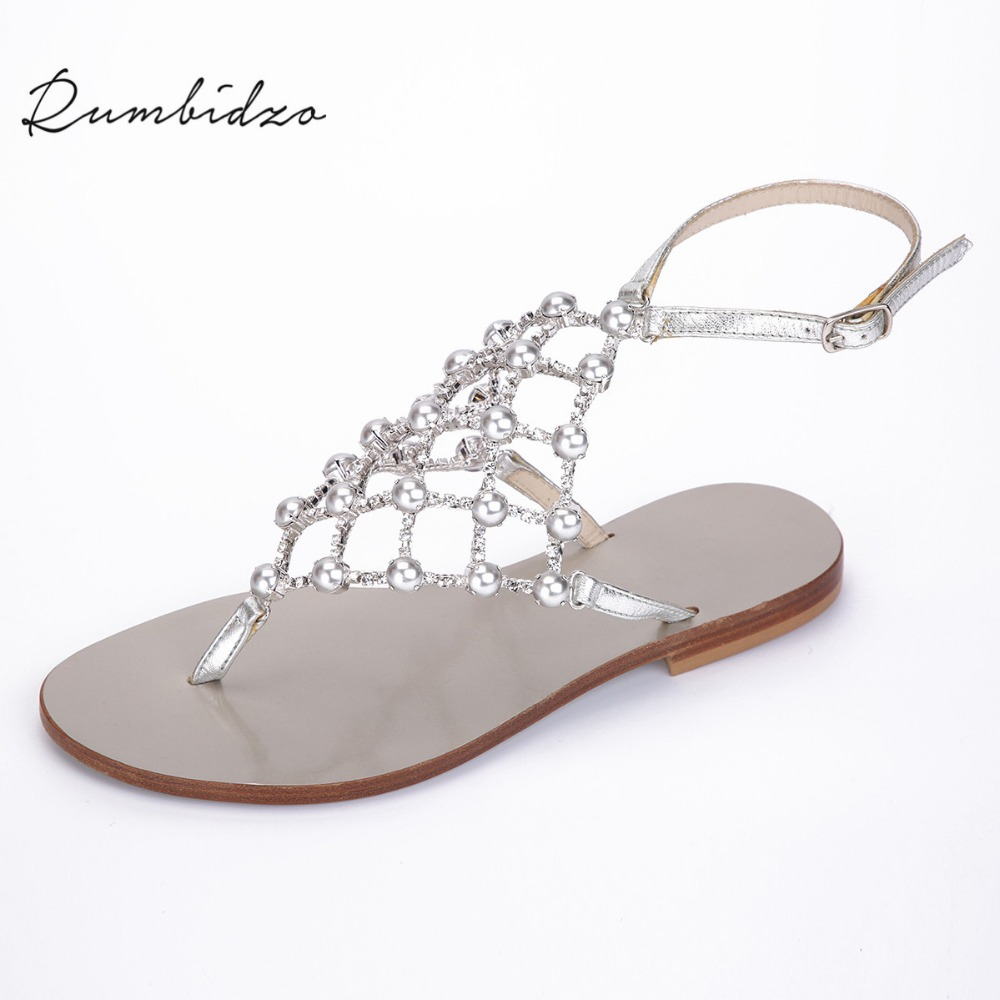 dbcbfc382d6087 Rumbidzo 2018 New Women Sandals Flat Heel Flip Flops Women Crystal Hollow  out Woman Outdoor Shoes