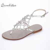 Rumbidzo 2018 New Women Sandals Flat Heel Flip Flops Women Crystal Hollow out Woman Outdoor Shoes Summer Ball Buckle Zapatos