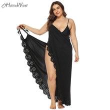Plus Size L-4XL Women Tassel Lace Hollow Out Edge Cover Dress Up Summer Beach Sunscreen Wrap Dress Backless Irregular Maxi Dress