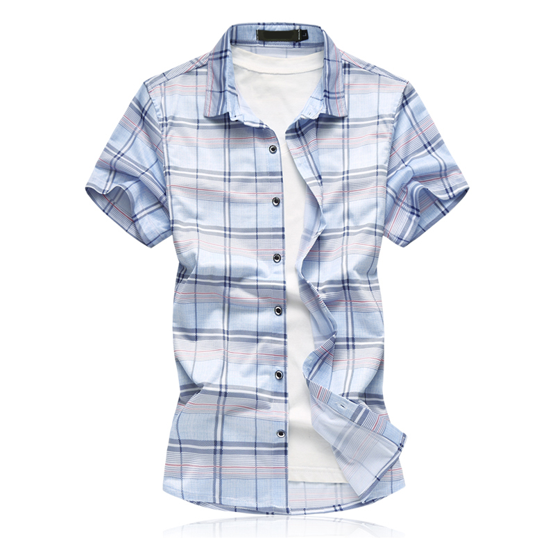 Plus Size M-7XL Plaid Shirt New Summer 2018 Fashion Short Sleeve Men Shirts Chemise Homme Social Casual Mens Dress Shirts