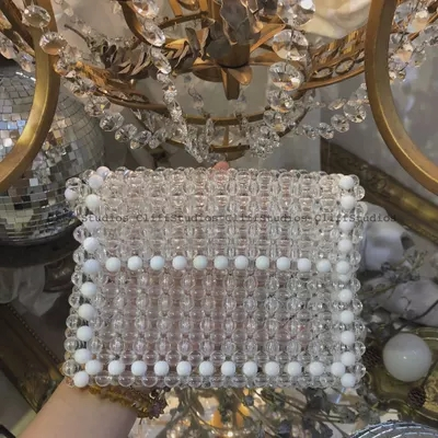 Perles tricotées à la main femmes sac à main de luxe soirée perle femmes sac à bandoulière embrayage cristal Transparent sac pour fête de mariage