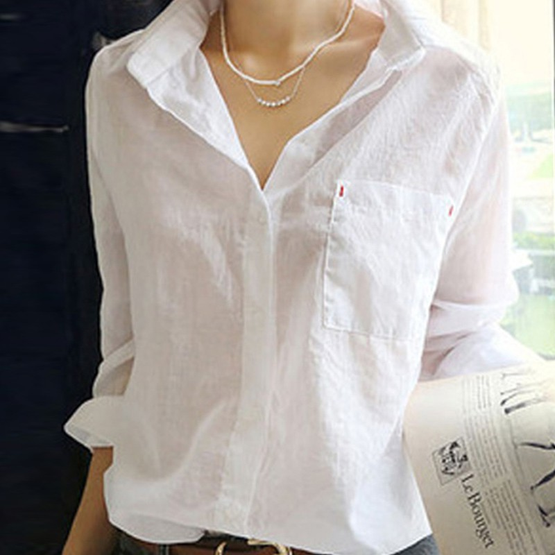 Spring Shirts Women Cotton White Shirt Turn Down Collar Long Sleeve Casual Women Tops