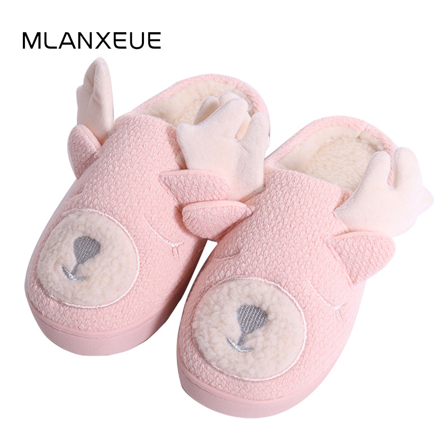 MLANXEUE Cute Carton Fawn Lovers Slippers Shoes Women Winter Warm Plush Slippers Animal Prints Lady Home Slippers 2018 New Shoes цена 2017