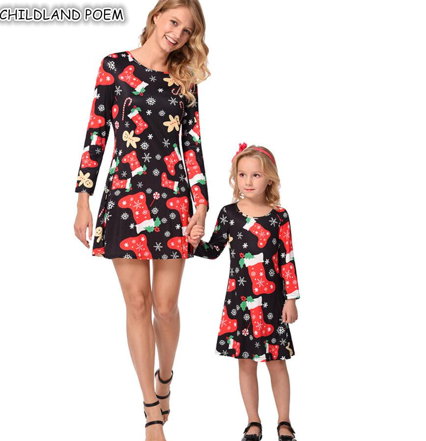 Mother Daughter Dresses Christmas Mommy and Me Clothes Outfits Long Sleeve Santa Claus Family Look Mom and Daughter Dress mommy and me mother daughter dresses apple fruit autumn winter long sleeve mom and daughter dress family matching outfits coat