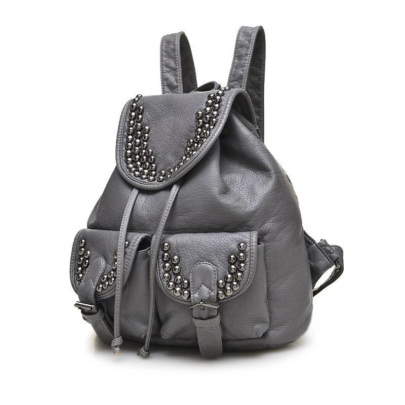 Women Rivet Backpacks Designer Pu Leather Girls Bags Vintage Preppy Style School Bag For Teenagers Female Backpack 2015 Mochila gigabyte ga h61m s1 micro atx lga 1155 ddr3 motherboard blue silver