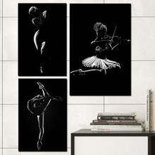 Black and White Ballet Dancer Wall Art Canvas Prints Frame Painting Poster Decorative Picture Print Vintage