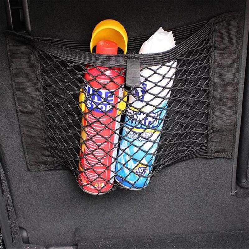 2019 Neuestes Design Auto Stamm Sitz Zurück Elastische Mesh Net Auto Styling Lagerung Tasche Tasche Käfig Magic Tape Für Toyota Land Cruiser 4 Runner Avalon Camry 100% Original
