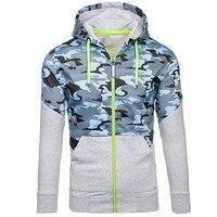 2017 New Autumn Fashion Hoodies Army Camo Print Men Hoodie Sweatshirt Slim Fit Zipper Camouflage Hooded