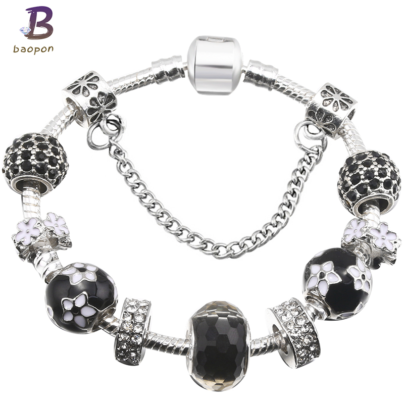 Baopon Fashion Silver Plated Black Crystal Amp Glass Beads