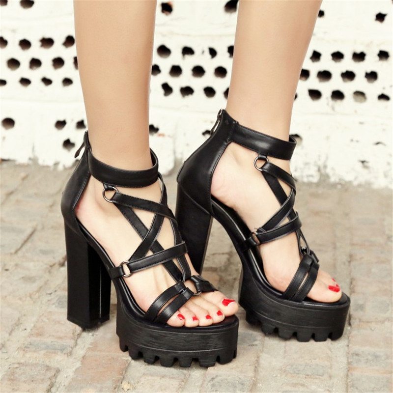 PXELENA Gladiator Sandals Shoes Platform Chunky-Block Punk-Rock High-Heels Thick Women