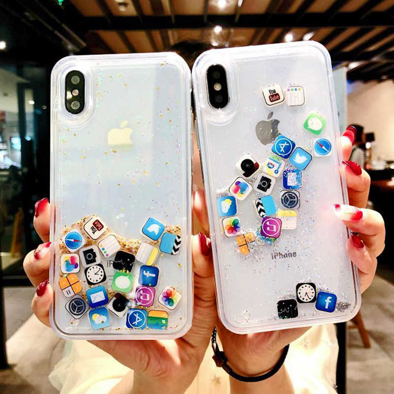 Anti-Knock Dynamic Quicksand Case For iPhone 11 Pro X XR XS MAX App Icon Glitter Silicone Hard Cover For iPhone 8 7 6 6s Plus